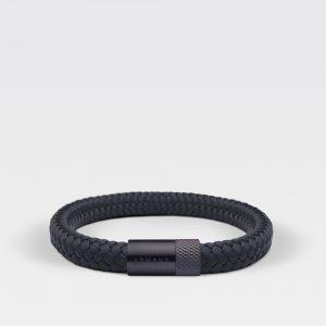 Gevlochten zwarte armband van ARMBND met zwarte roestvrij stalen sluiting