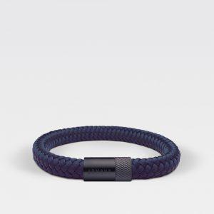 Gevlochten navy blauwe armband van ARMBND met zwarte roestvrij stalen sluiting