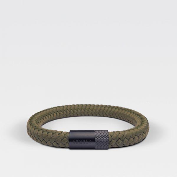 Gevlochten legergroene armband van ARMBND met zwarte roestvrij stalen sluiting