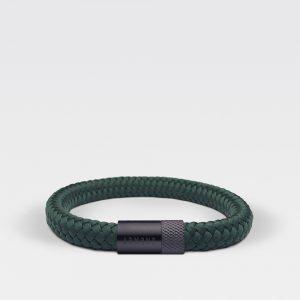 Gevlochten forest groene armband van ARMBND met zwarte roestvrij stalen sluiting