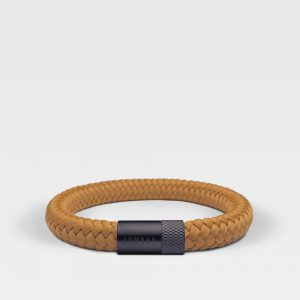 Gevlochten okergele armband van ARMBND met zwarte roestvrij stalen sluiting