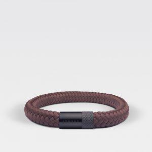 Gevlochten chocolade bruine armband van ARMBND met zwarte roestvrij stalen sluiting