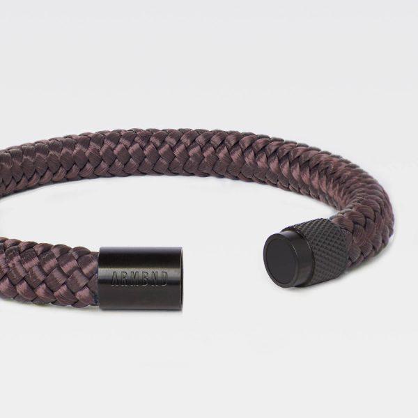 Bruine armband van touw met zwart
