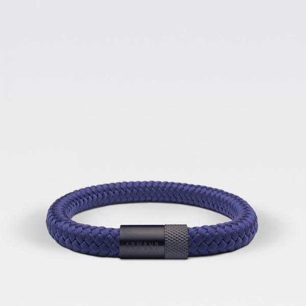 Gevlochten Egyptisch blauwe armband van ARMBND met zwarte roestvrij stalen sluiting