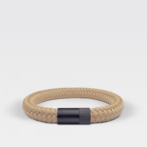 Gevlochten beige armband van ARMBND met zwarte roestvrij stalen sluiting
