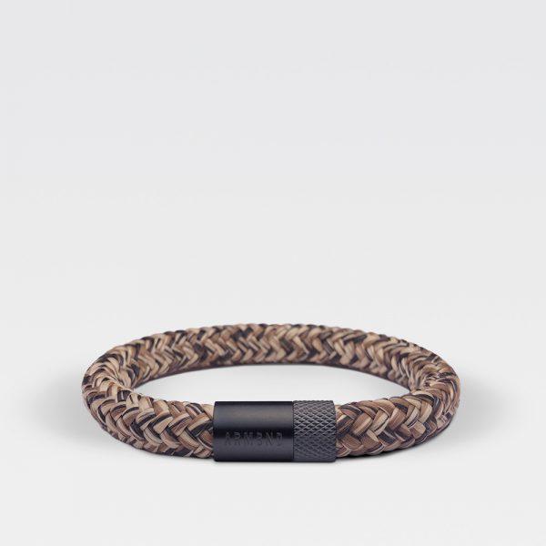 Gevlochten bruin met zwarte armband van ARMBND met zwarte roestvrij stalen sluiting
