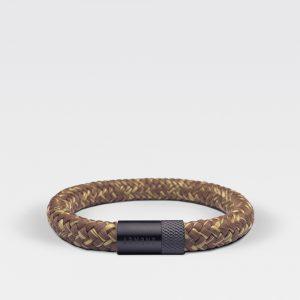 Gevlochten bruin met gele armband van ARMBND met zwarte roestvrij stalen sluiting