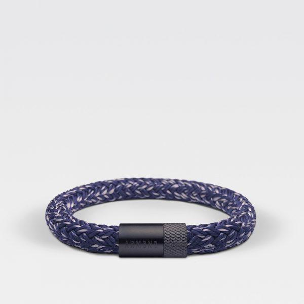 Gevlochten blauw met witte armband van ARMBND met zwarte roestvrij stalen sluiting