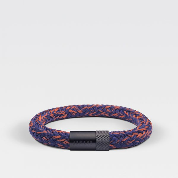 Gevlochten blauwe en oranje armband van ARMBND met zwarte roestvrij stalen sluiting