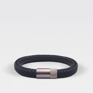 Gevlochten zwarte armband van ARMBND met zilveren roestvrij stalen sluiting