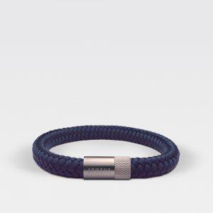 Gevlochten navy blauwe armband van ARMBND met zilveren roestvrij stalen sluiting
