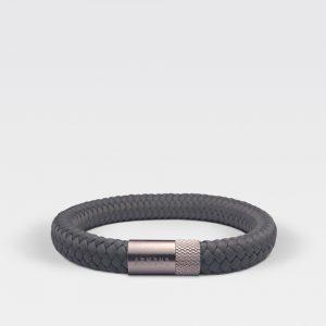 Gevlochten antraciete armband van ARMBND met zilveren roestvrij stalen sluiting