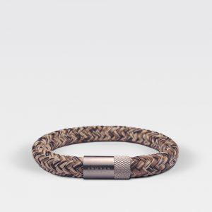 Gevlochten zwart met bruine armband van ARMBND met zilveren roestvrij stalen sluiting