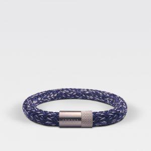Gevlochten blauw met witte armband van ARMBND met zilveren roestvrij stalen sluiting