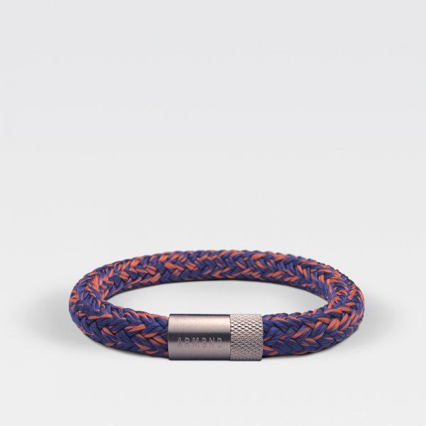Gevlochten blauw met oranje armband van ARMBND met zilveren roestvrij stalen sluiting