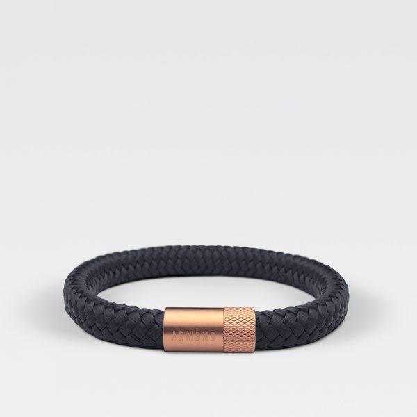 Gevlochten zwarte armband van ARMBND met rosé gouden roestvrij stalen sluiting