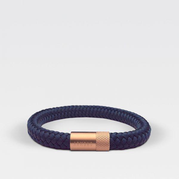 Gevlochten navy blauwe armband van ARMBND met rosé gouden roestvrij stalen sluiting