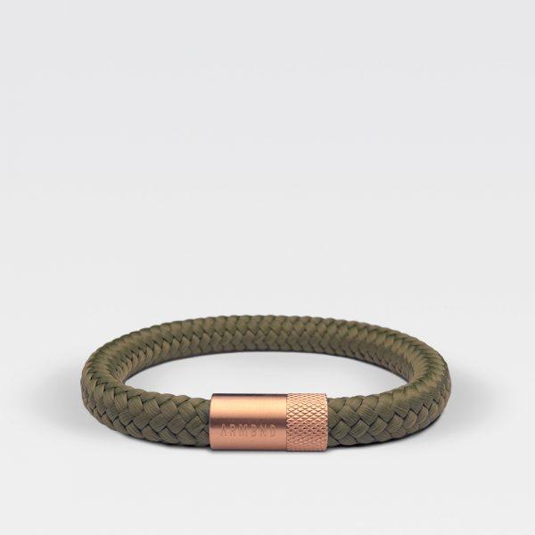 Gevlochten legergroene armband van ARMBND met rosé gouden roestvrij stalen sluiting