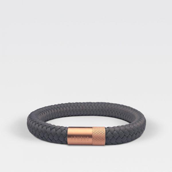 Gevlochten antraciete armband van ARMBND met rosé gouden roestvrij stalen sluiting
