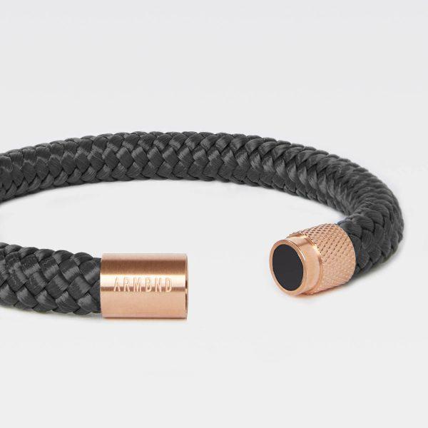 Antraciet grijze armband met goud