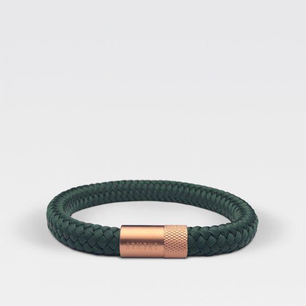 Gevlochten forest groene armband van ARMBND met rosé gouden roestvrij stalen sluiting