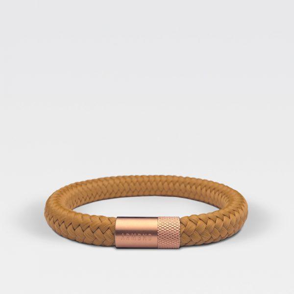 Gevlochten okergele armband van ARMBND met rosé gouden roestvrij stalen sluiting