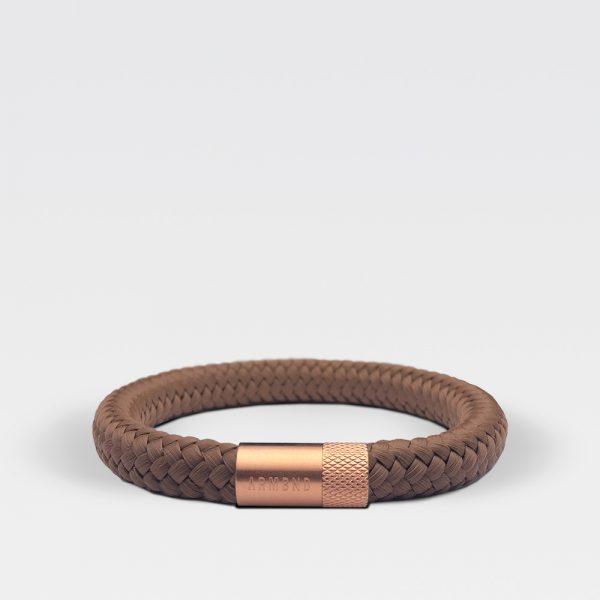Gevlochten kaneelbruine armband van ARMBND met rosé gouden roestvrij stalen sluiting