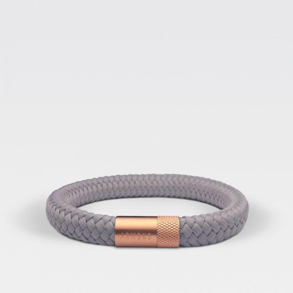 Gevlochten grijze armband van ARMBND met rosé gouden roestvrij stalen sluiting