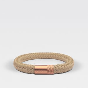 Gevlochten beige armband van ARMBND met rosé gouden roestvrij stalen sluiting