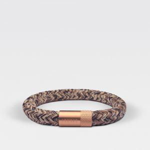 Gevlochten zwart met bruine armband van ARMBND met rosé gouden roestvrij stalen sluiting
