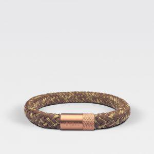 Gevlochten bruin met gele armband van ARMBND met rosé gouden roestvrij stalen sluiting
