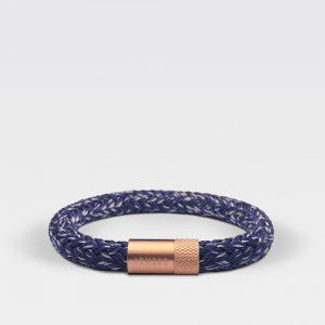 Blauw met witte gevlochten touwarmband