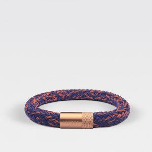 Gevlochten blauw met oranje armband van ARMBND met rosé gouden roestvrij stalen sluiting