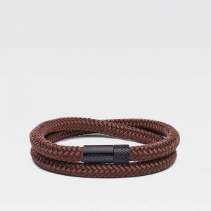 Bruine dubbele armband met zwarte stalen sluiting