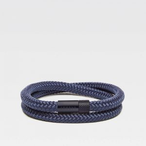 Blauwe dubbele armband met zwarte stalen sluiting