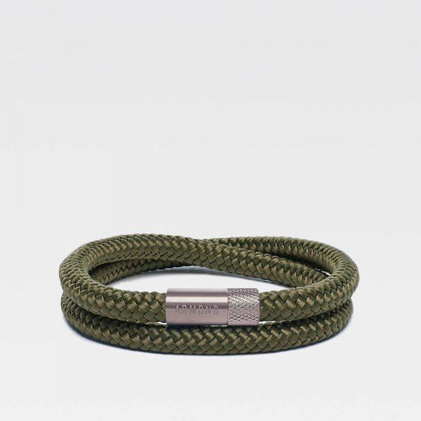 Groene dubbele armband met zilveren stalen sluiting