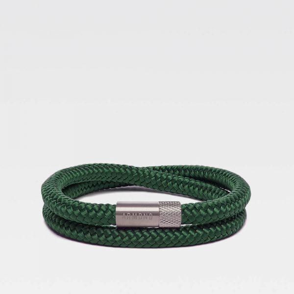 Donkergroene dubbele armband met zilveren stalen sluiting
