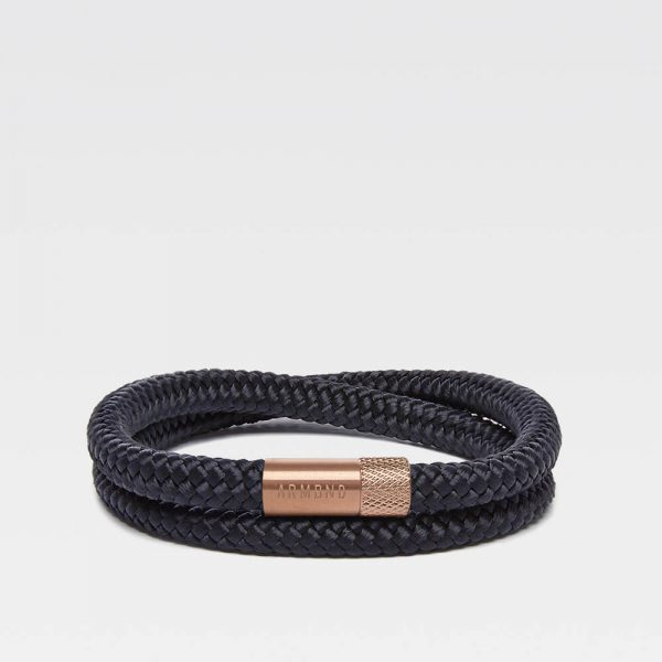 Zwarte dubbele armband met rosé gouden stalen sluiting