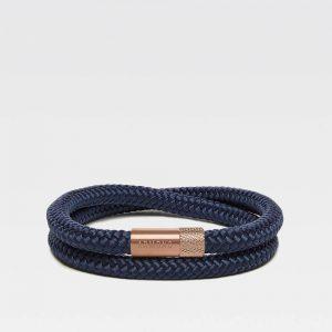 Donkerblauwe dubbele armband met rosé gouden stalen sluiting