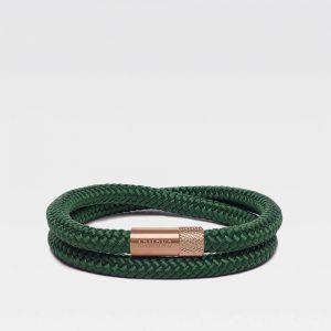 Donkergroene dubbele armband met rosé gouden stalen sluiting