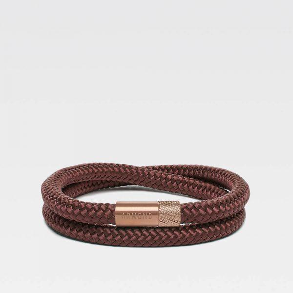 Bruine dubbele armband met rosé gouden stalen sluiting