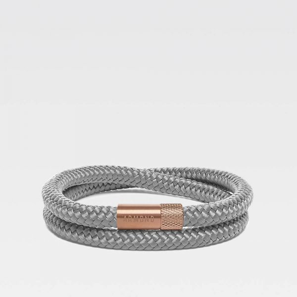 Grijze dubbele armband met rosé gouden sluiting