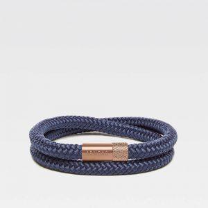 Blauwe dubbele armband met rosé gouden stalen sluiting