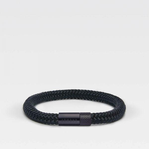 Zwarte dunne armband met zwarte stalen sluiting