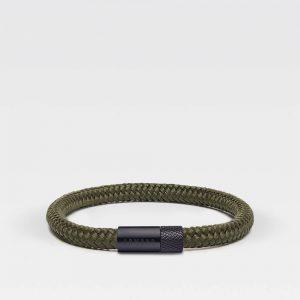 Groene dunne armband met zwarte stalen sluiting
