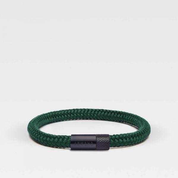 Donkergroene dunne armband met zwarte stalen sluiting