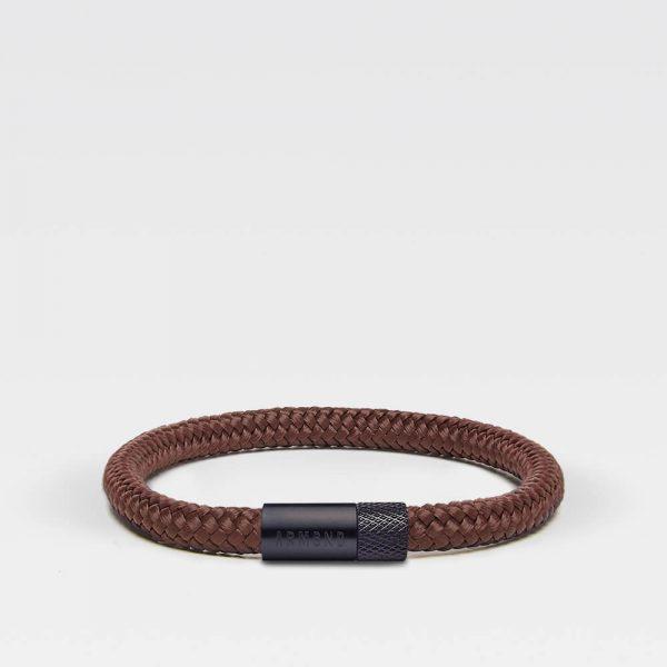 Bruine dunne armband met zwarte stalen sluiting