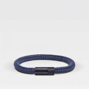 Blauwe dunne armband met zwarte stalen sluiting