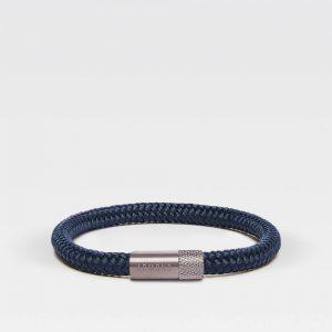 Donkerblauwe dunne armband met zilveren stalen sluiting