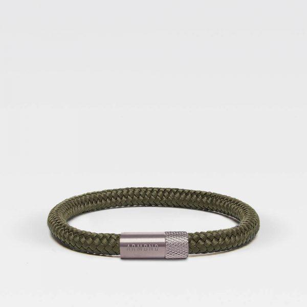 Groene dunne armband met zilveren stalen sluiting